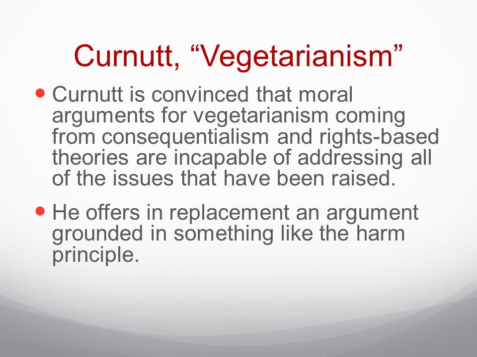 Curnutt, Vegetarianism