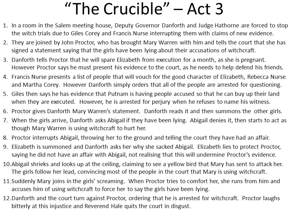 essay on the crucible act 3 Irony in crucible essay sample irony in the crucible irony is a contrast between what is stated and what is meant, or between what is expected to happen and what .