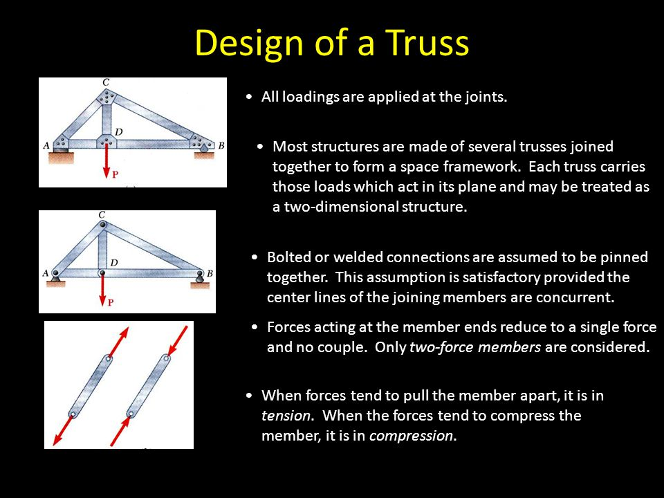 Design of a Truss All loadings are applied at the joints.