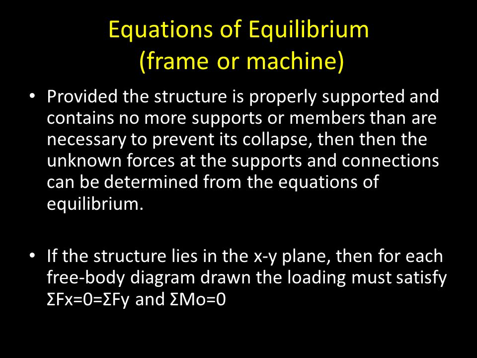 Equations of Equilibrium (frame or machine)