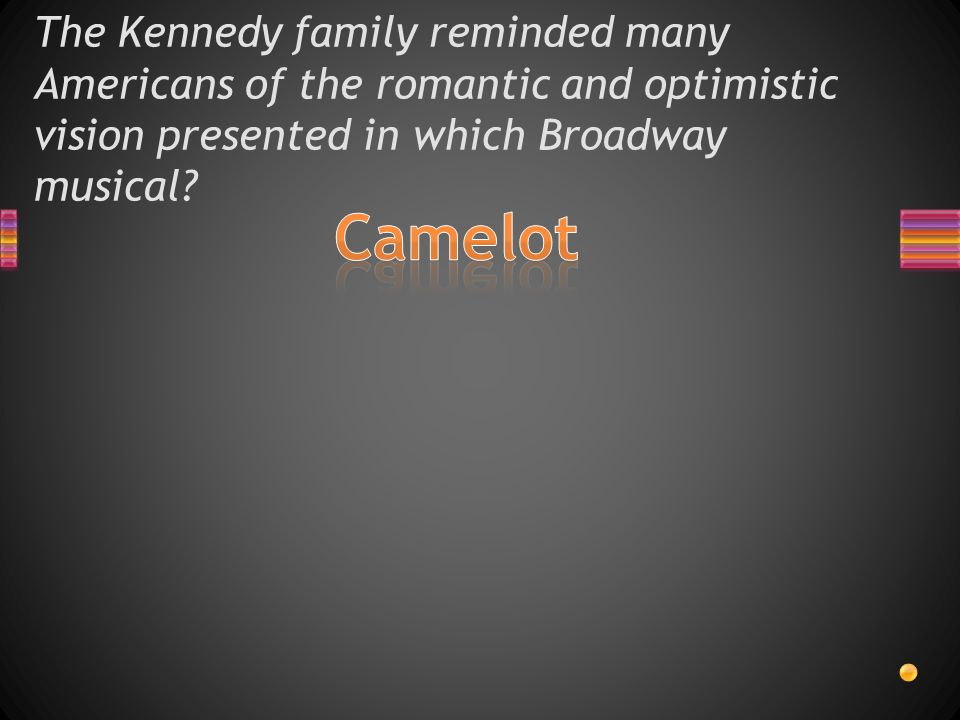 The Kennedy family reminded many Americans of the romantic and optimistic vision presented in which Broadway musical