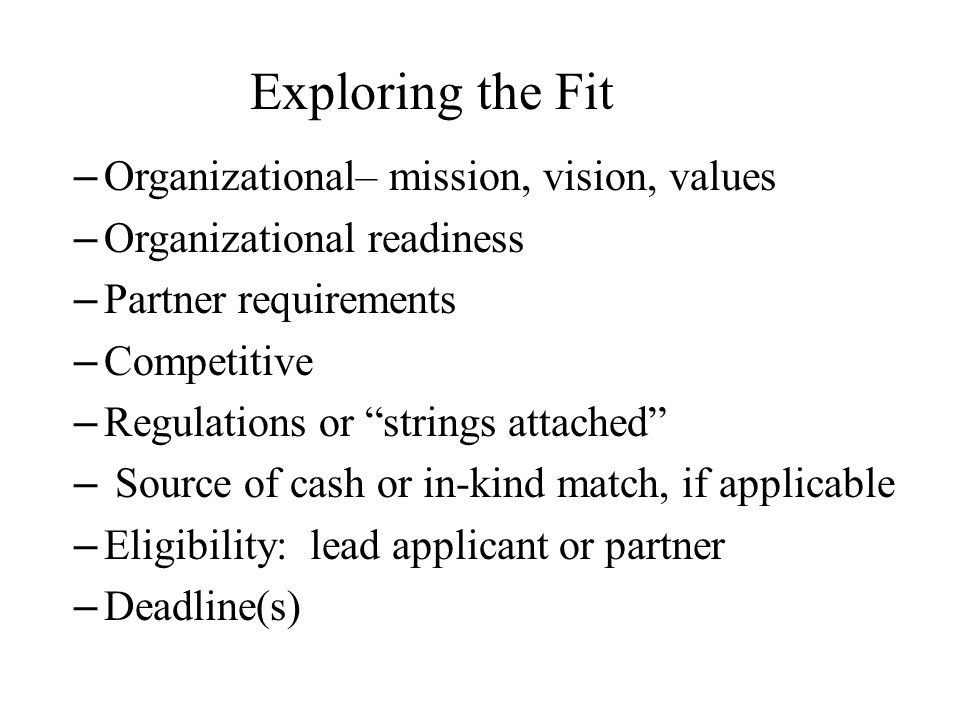 Exploring the Fit Organizational– mission, vision, values