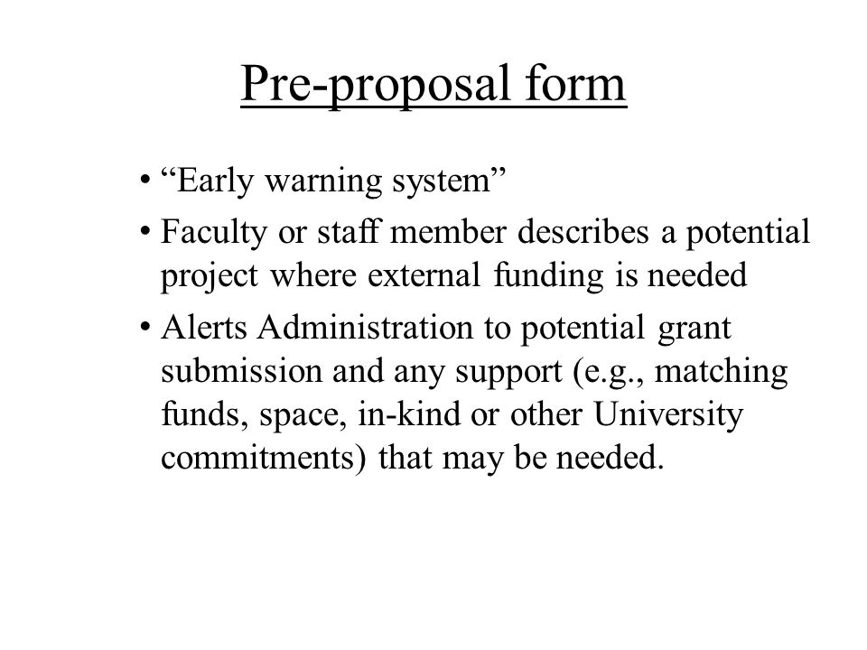 Pre-proposal form Early warning system
