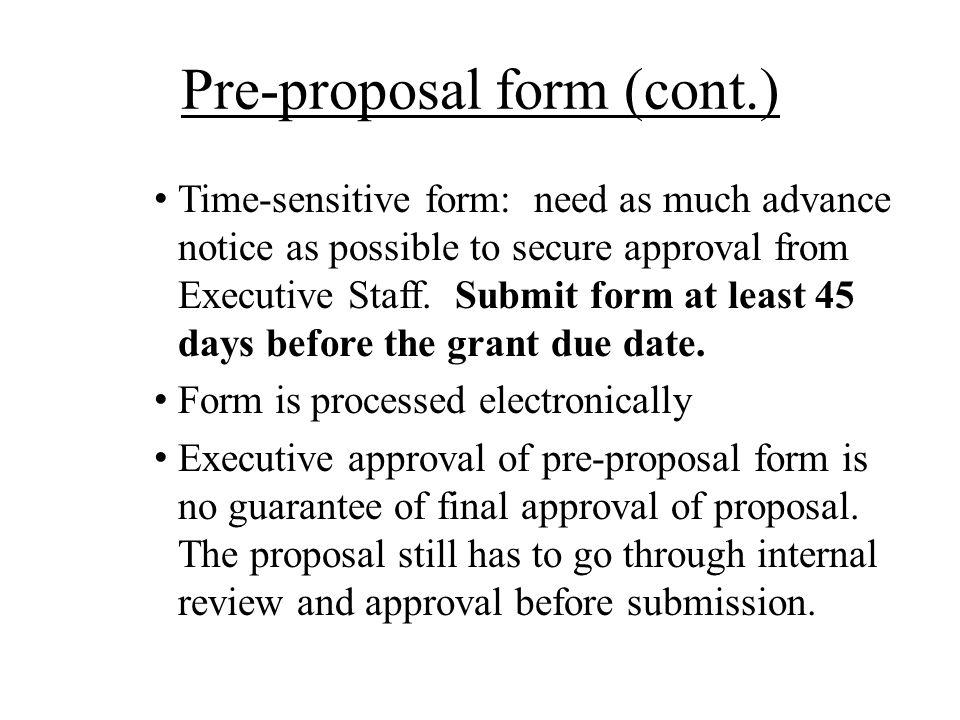 Pre-proposal form (cont.)