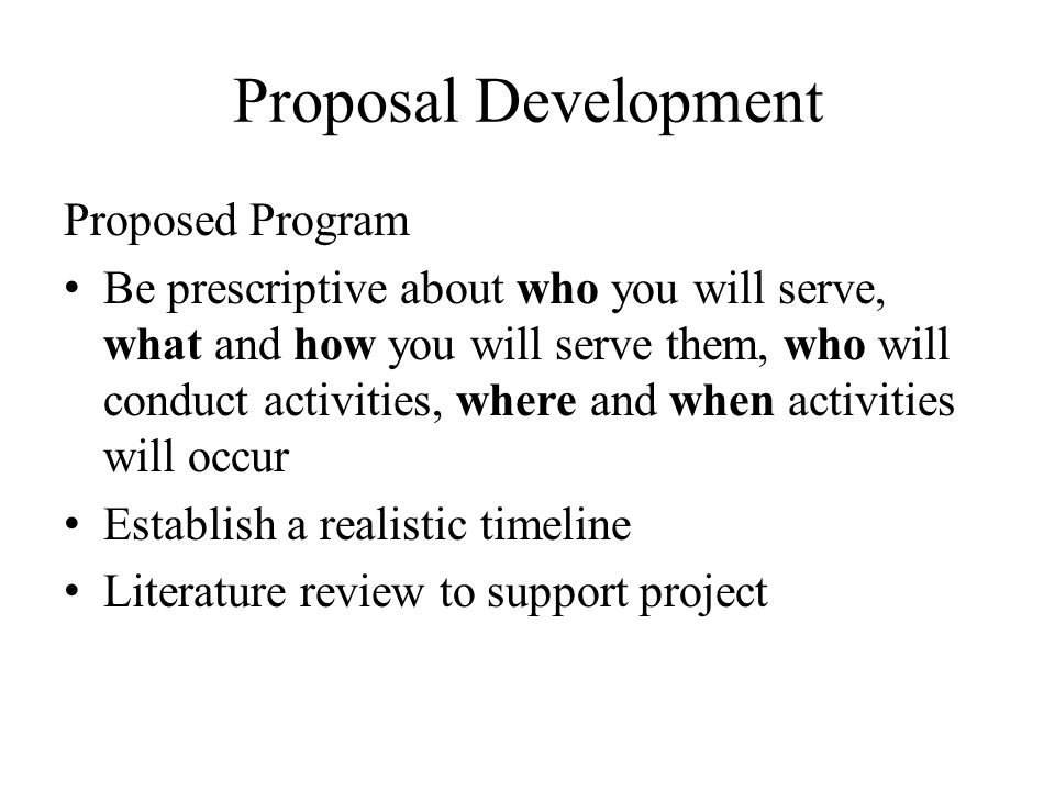 Proposal Development Proposed Program