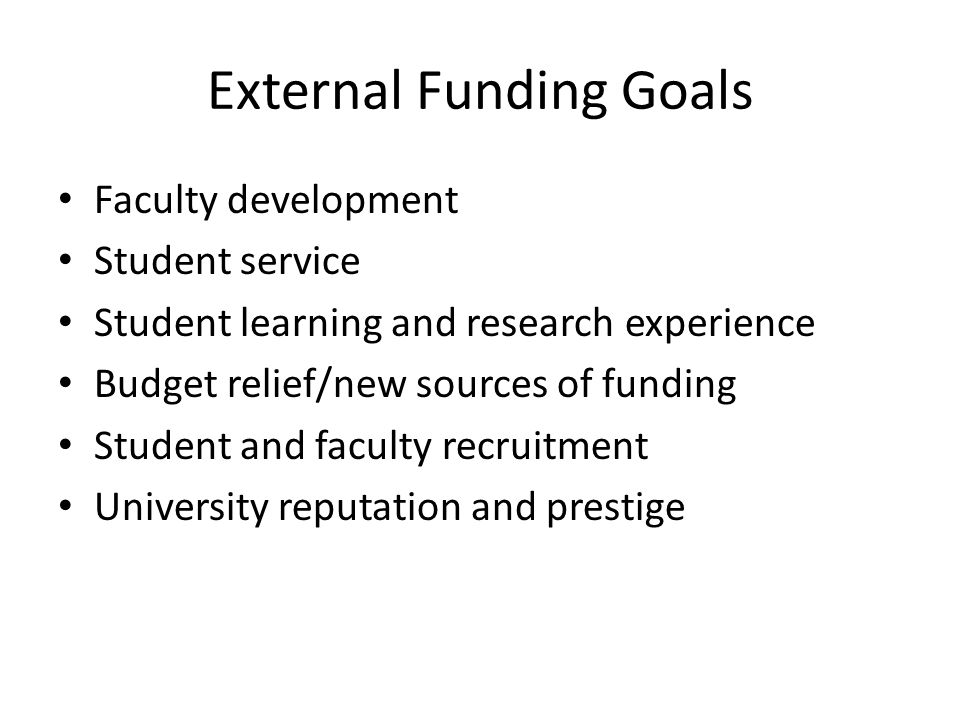 External Funding Goals