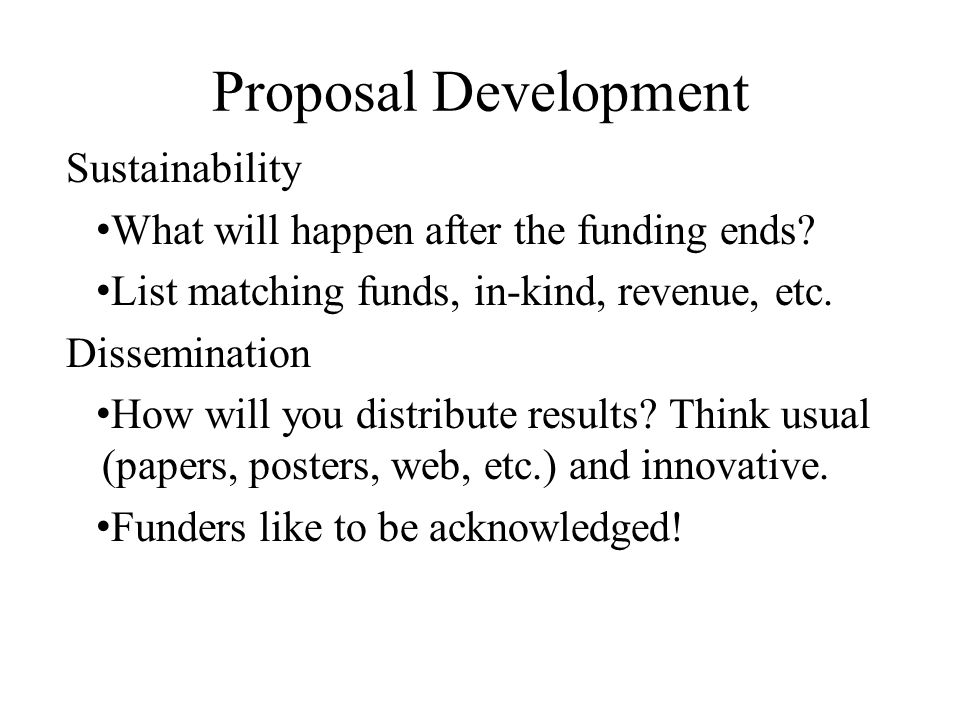 Proposal Development Sustainability