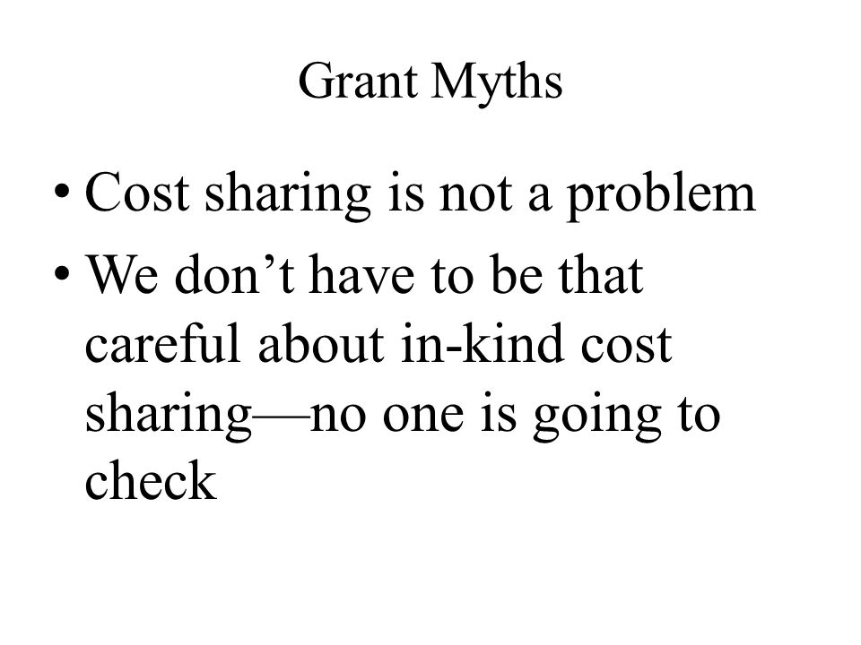 Cost sharing is not a problem