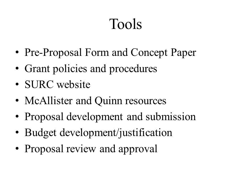 Tools Pre-Proposal Form and Concept Paper