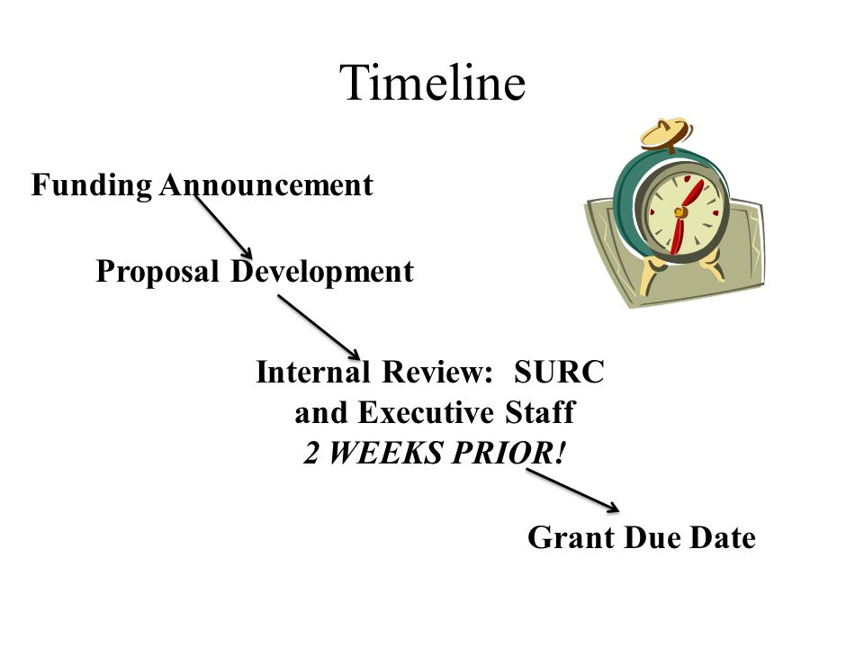 Timeline Funding Announcement Proposal Development