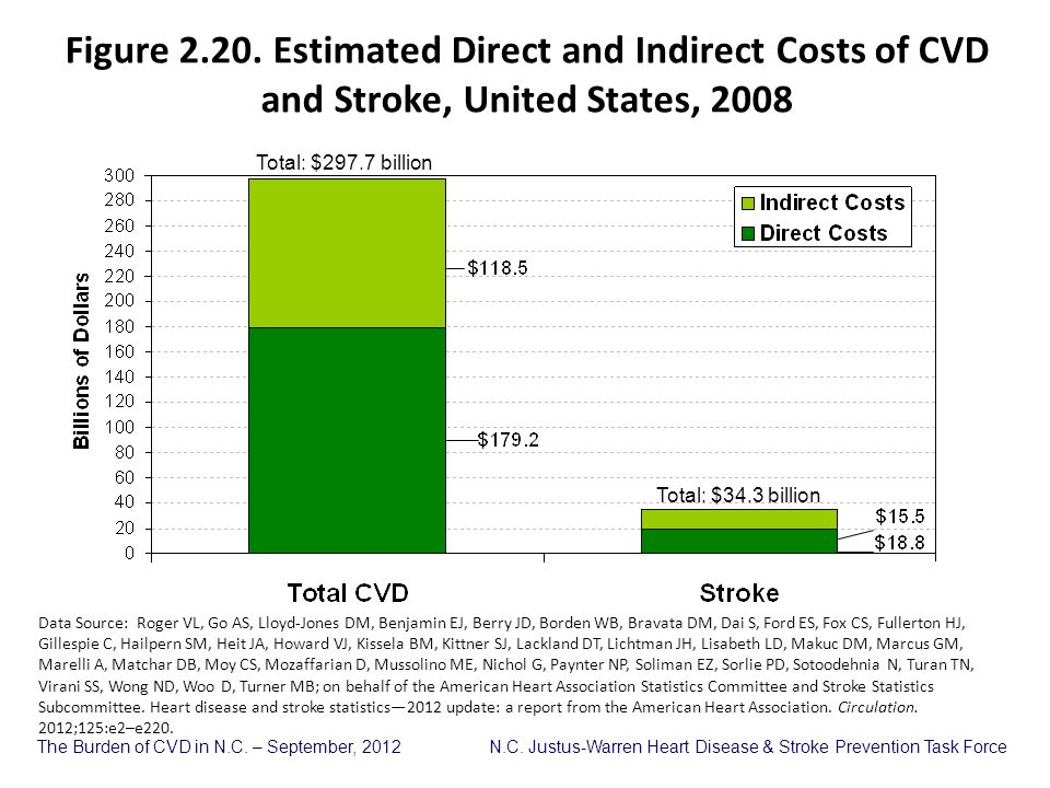 Figure 2.20. Estimated Direct and Indirect Costs of CVD and Stroke, United States, 2008