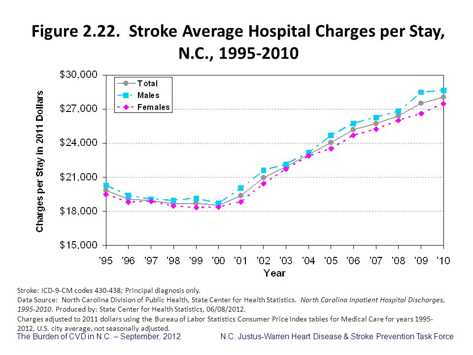 Figure 2.22. Stroke Average Hospital Charges per Stay, N.C., 1995-2010