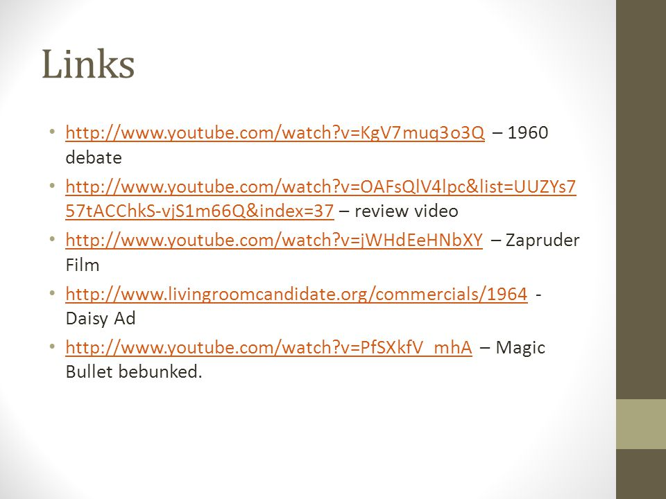 Links http://www.youtube.com/watch v=KgV7muq3o3Q – 1960 debate