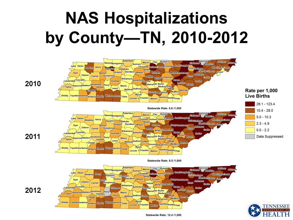 NAS Hospitalizations by County—TN, 2010-2012