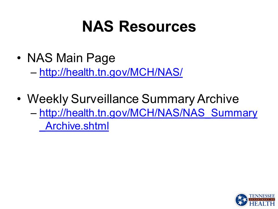 NAS Resources NAS Main Page Weekly Surveillance Summary Archive