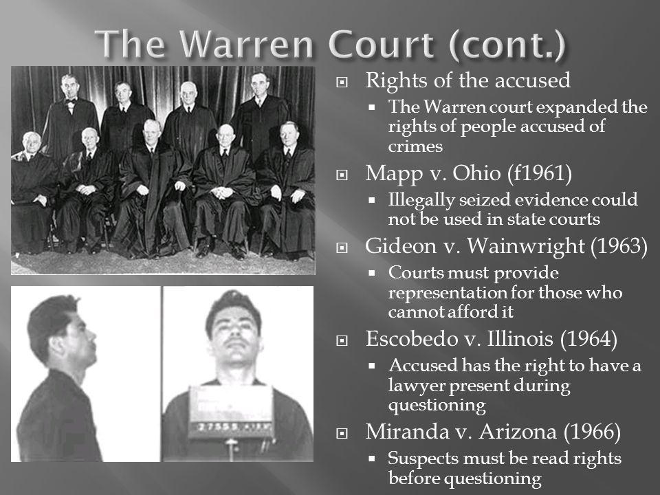 The Warren Court (cont.)