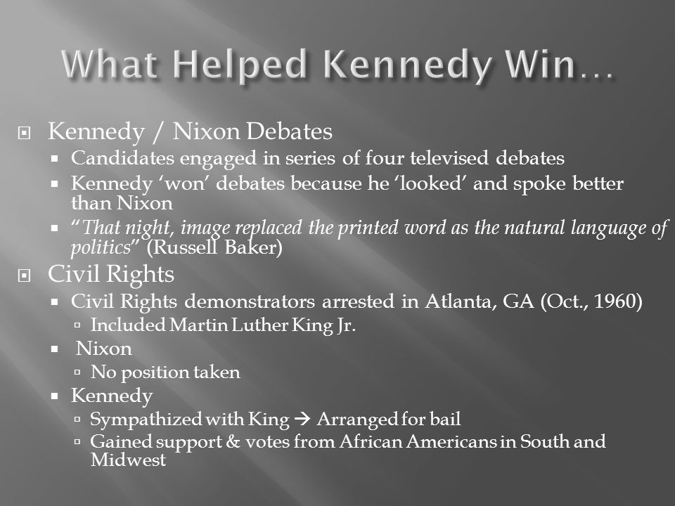 What Helped Kennedy Win…