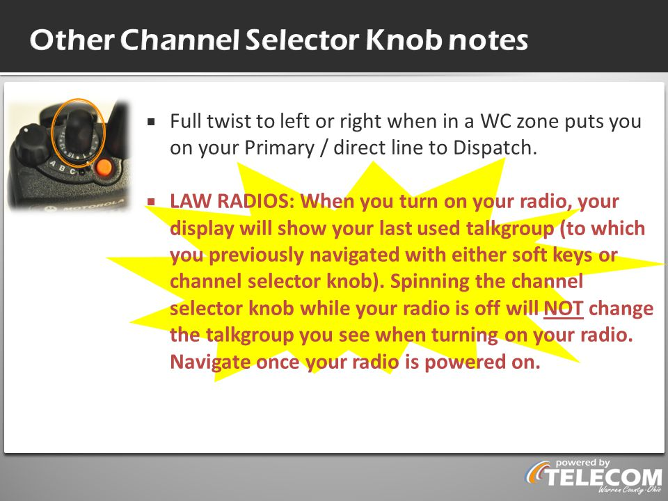 Other Channel Selector Knob notes