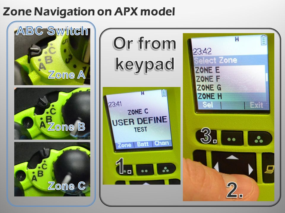 Zone Navigation on APX model