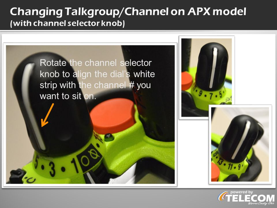 Changing Talkgroup/Channel on APX model (with channel selector knob)