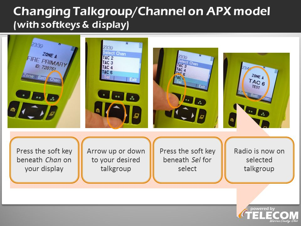 Changing Talkgroup/Channel on APX model (with softkeys & display)