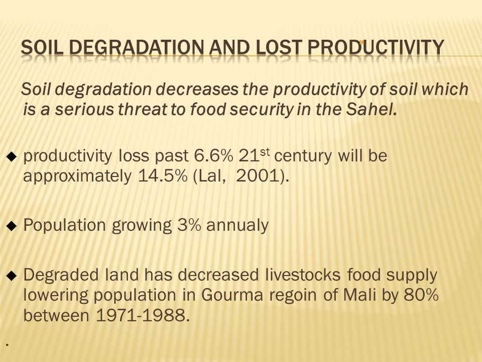 Soil Degradation and Lost Productivity