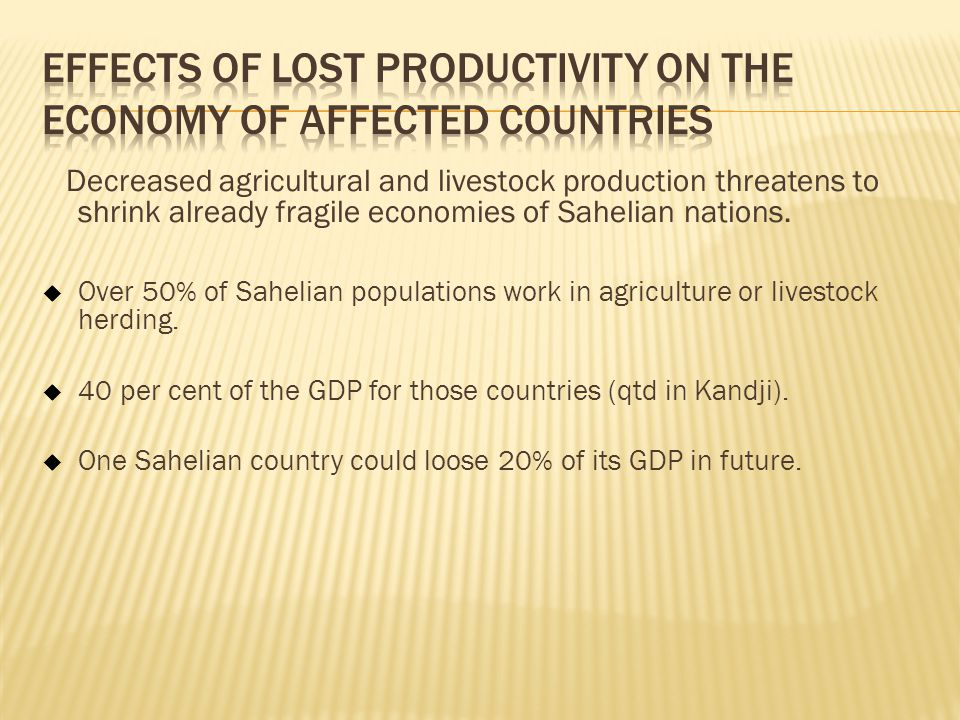 Effects of Lost Productivity on the Economy of Affected Countries