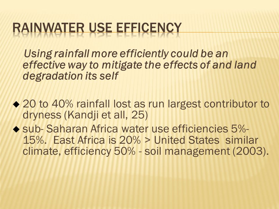 Rainwater Use Efficency