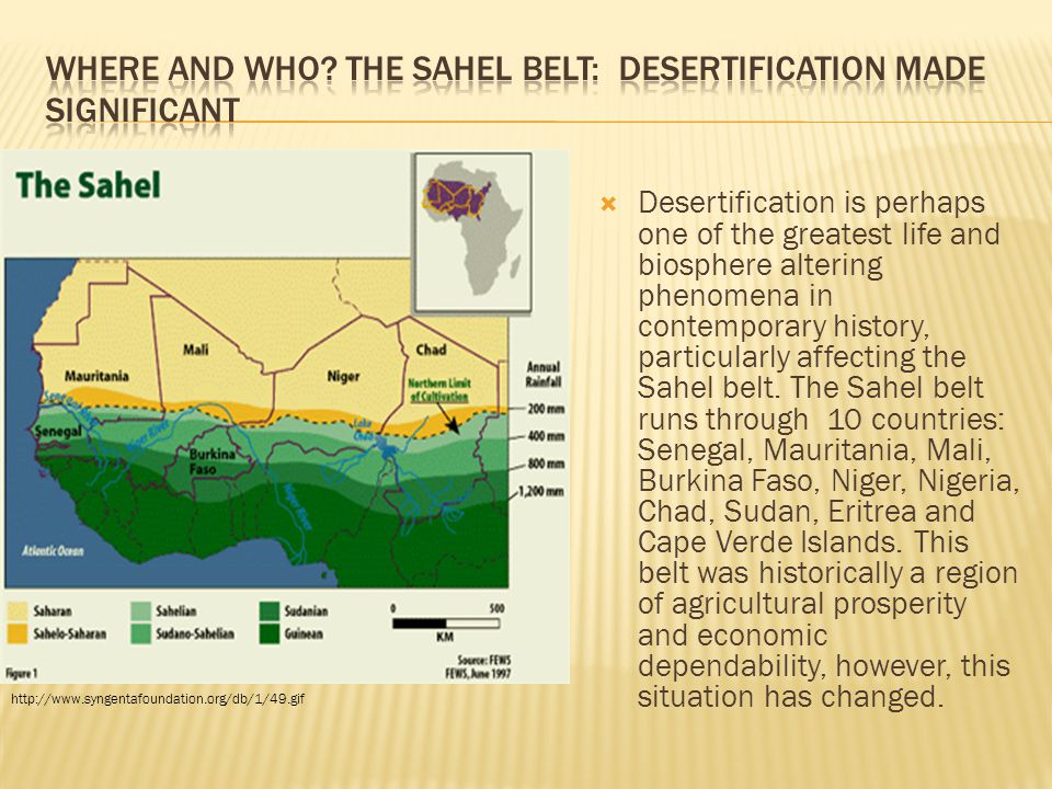 Where and WHO The Sahel belt: desertification made significant