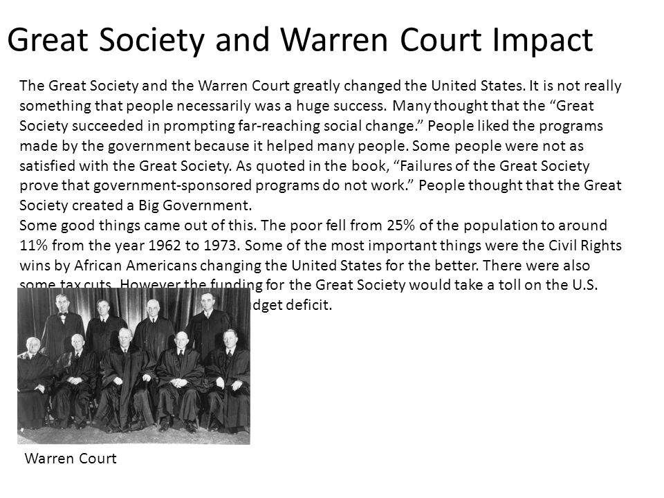 Great Society and Warren Court Impact