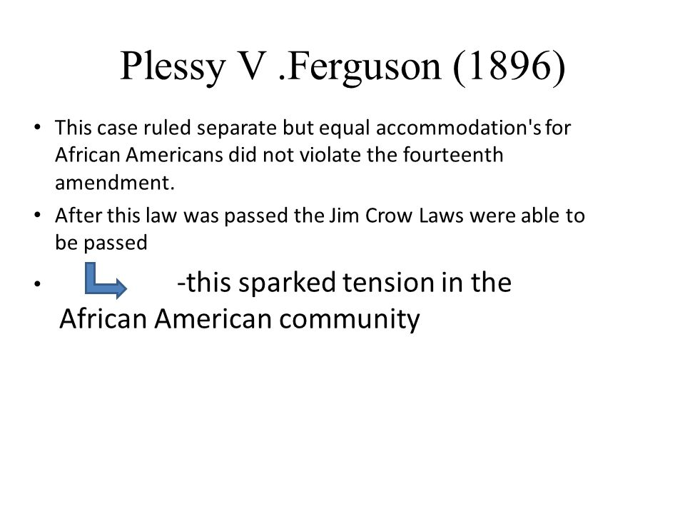 Plessy V .Ferguson (1896) This case ruled separate but equal accommodation s for African Americans did not violate the fourteenth amendment.