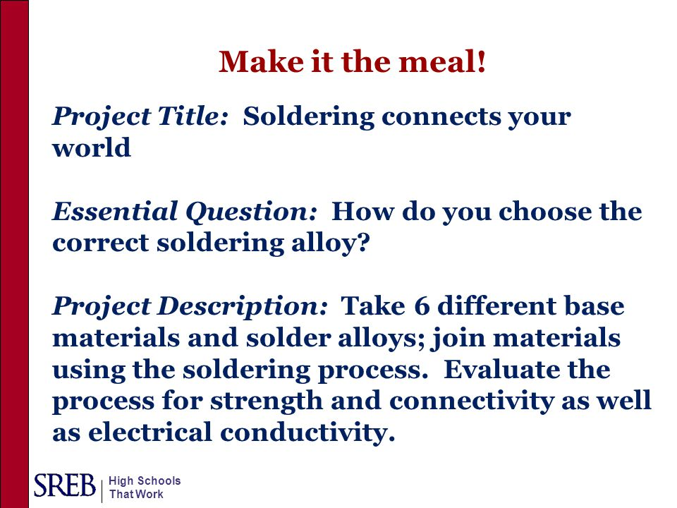 Make it the meal! Project Title: Soldering connects your world