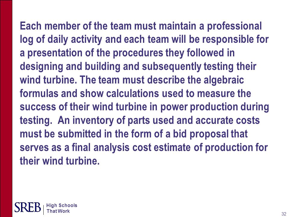Each member of the team must maintain a professional log of daily activity and each team will be responsible for a presentation of the procedures they followed in designing and building and subsequently testing their wind turbine.