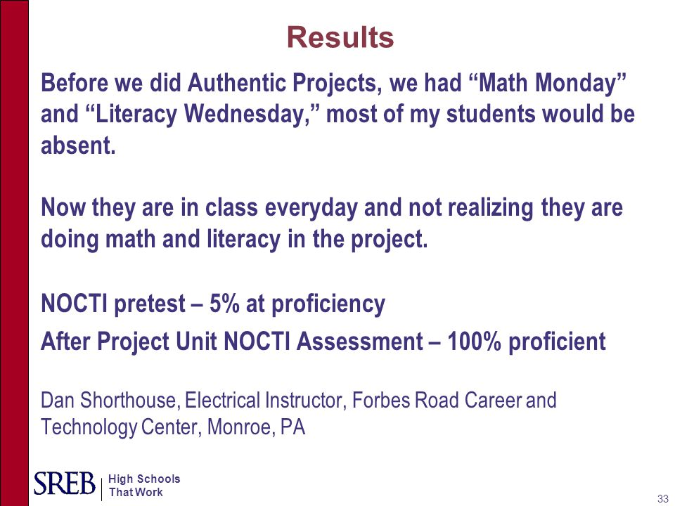 Results Before we did Authentic Projects, we had Math Monday and Literacy Wednesday, most of my students would be absent.