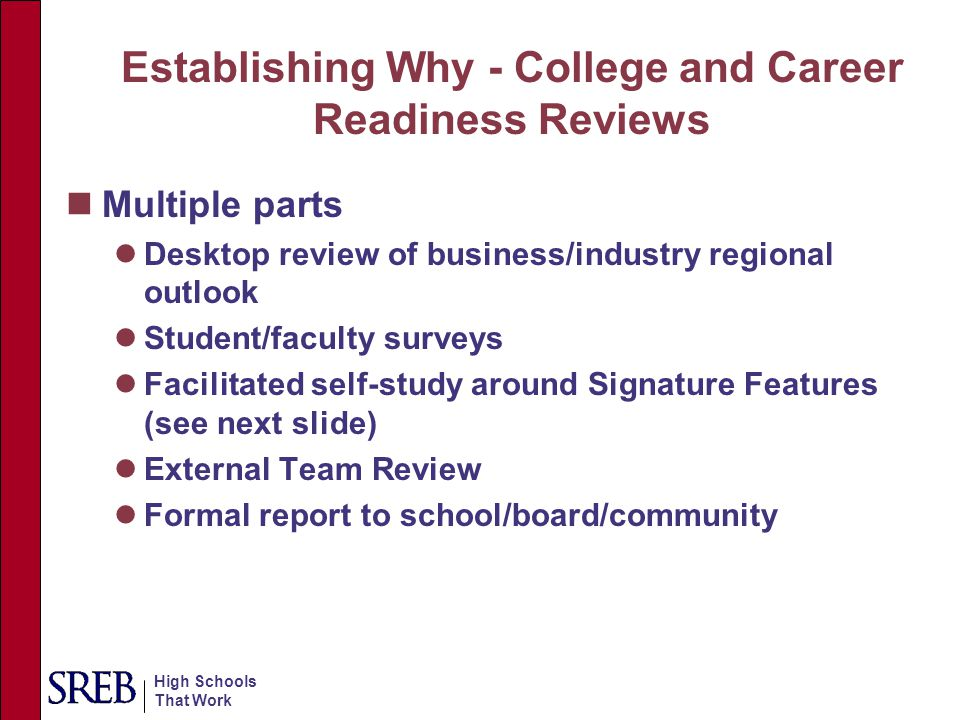 Establishing Why - College and Career Readiness Reviews