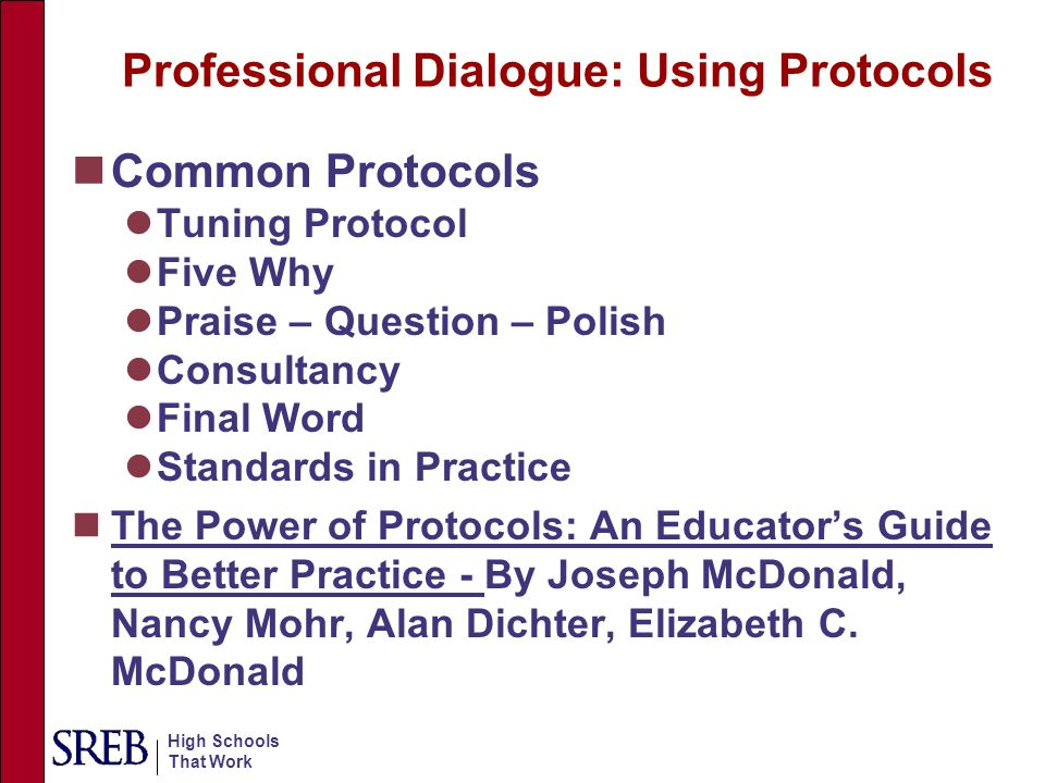 Professional Dialogue: Using Protocols