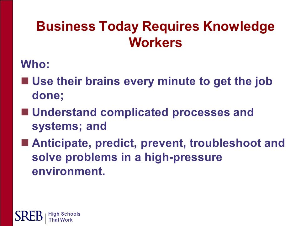 Business Today Requires Knowledge Workers