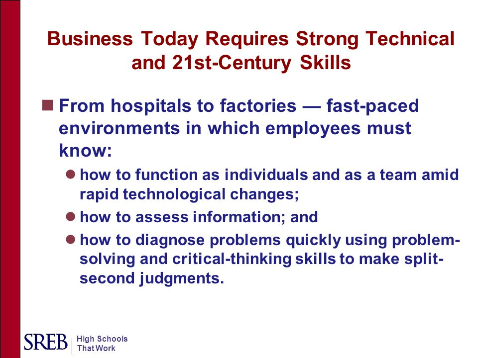 Business Today Requires Strong Technical and 21st-Century Skills