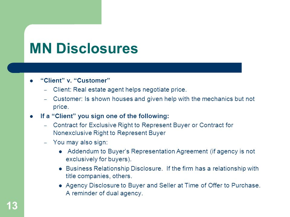 MN Disclosures Client v. Customer