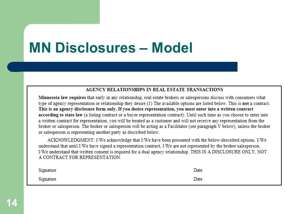 MN Disclosures – Model