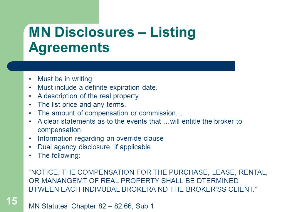 MN Disclosures – Listing Agreements
