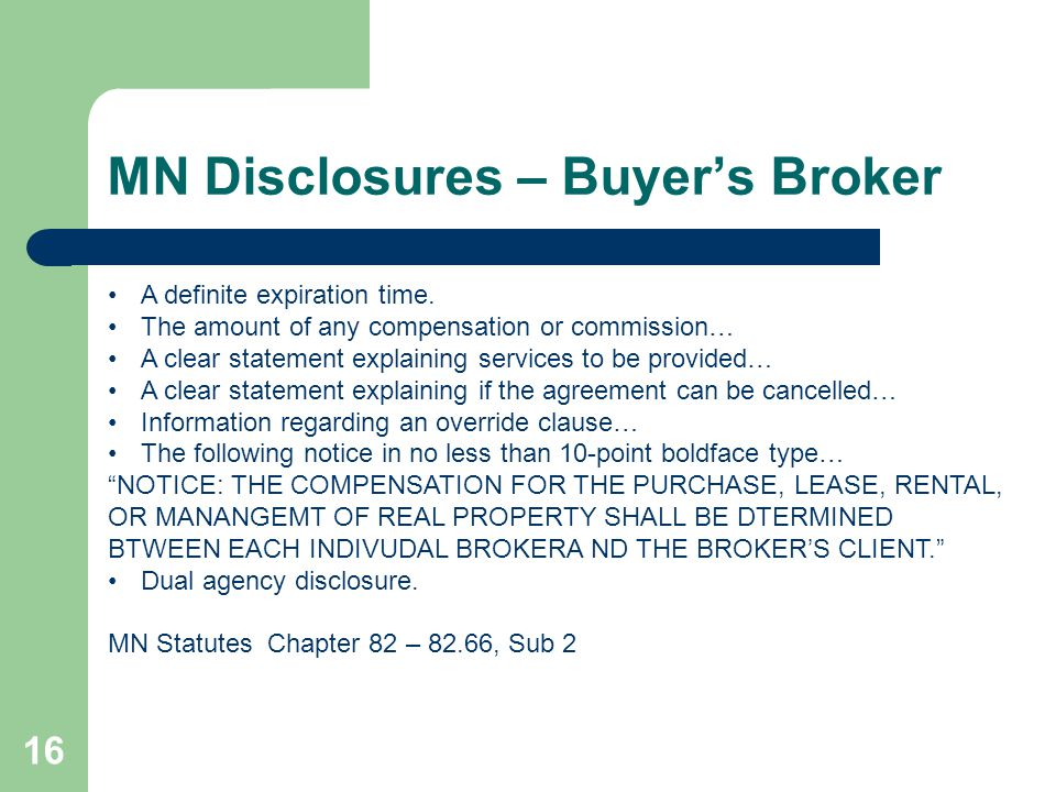 MN Disclosures – Buyer's Broker