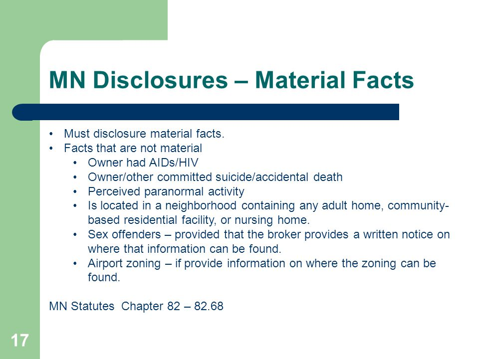 MN Disclosures – Material Facts