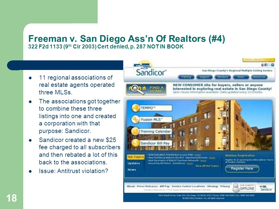 Freeman v. San Diego Ass'n Of Realtors (#4) 322 F2d 1133 (9th Cir 2003) Cert denied, p. 287 NOT IN BOOK
