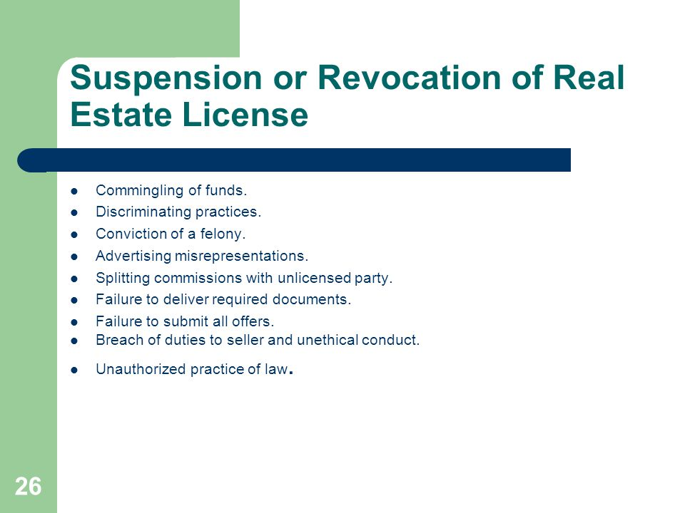 Suspension or Revocation of Real Estate License