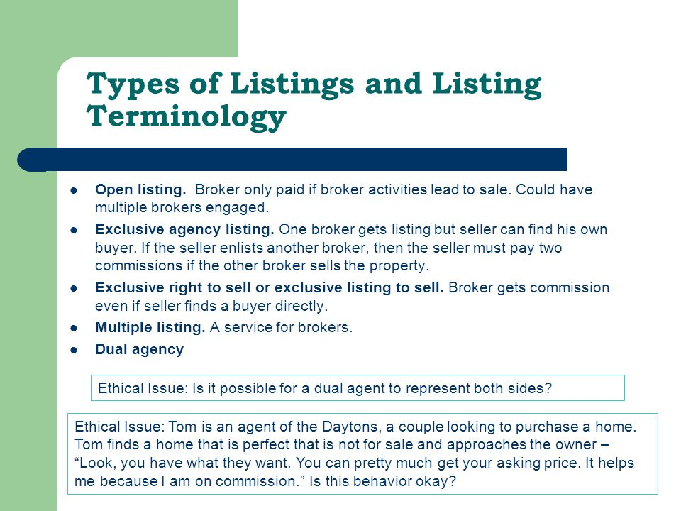 Types of Listings and Listing Terminology