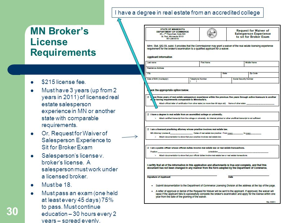MN Broker's License Requirements