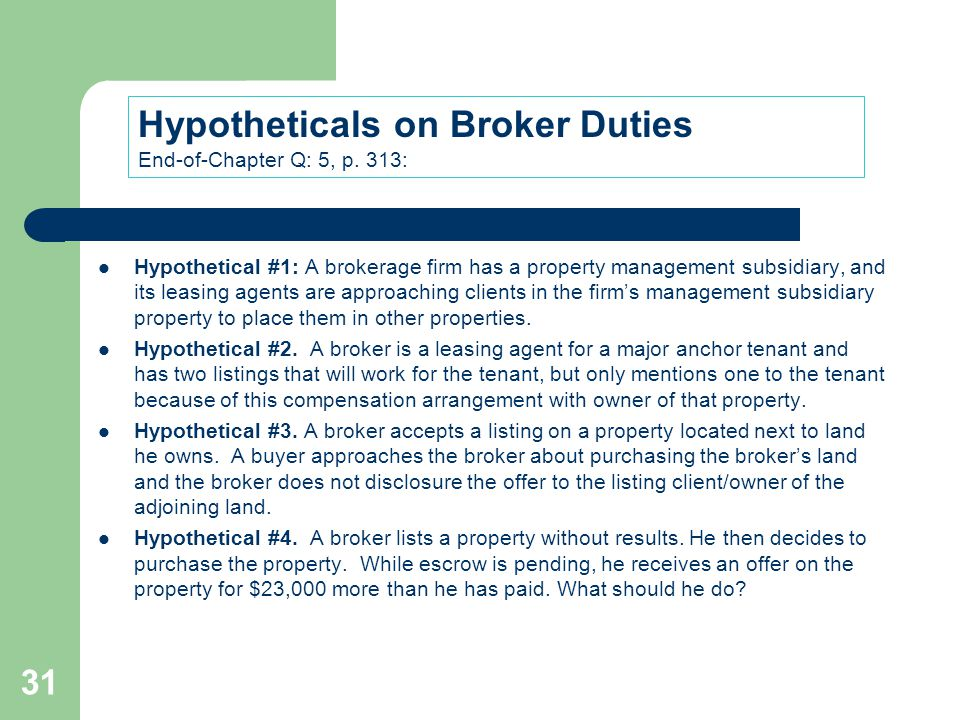 Hypotheticals on Broker Duties