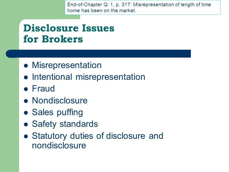Disclosure Issues for Brokers