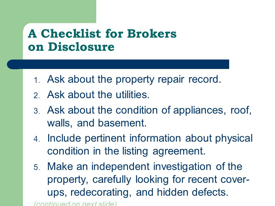 A Checklist for Brokers on Disclosure